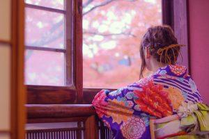 紅葉と着物レンタル