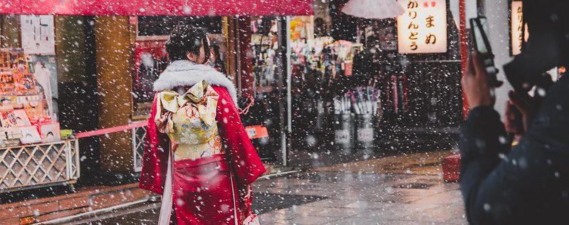 冬に浅草で着物レンタル