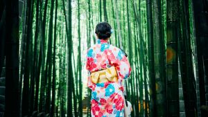 竹林と着物の女性