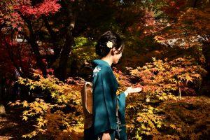 紅葉と着物女性